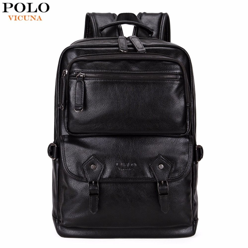 VICUNA POLO <font><b>Multifunctional</b></font> Leather Men Backpack Brand High Quality Big Men Leather Travel Backpack Business Laptop Backpack Hot
