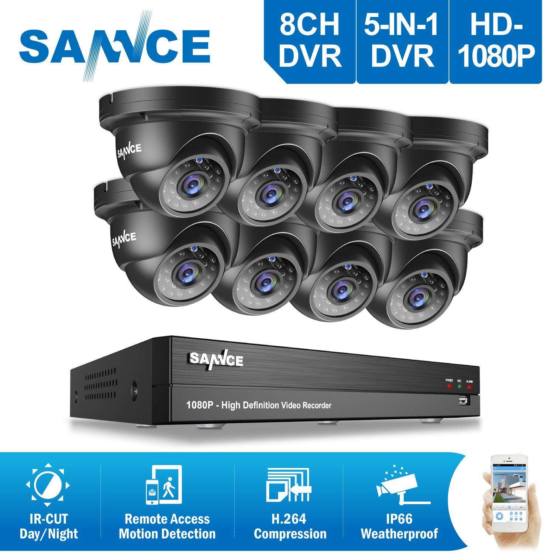 SANNCE 8CH HD 1080P CCTV System 8pcs 2.0MP IR Outdoor CCTV Security Cameras 8 channels 3000TVL1080P Video Surveillance DVR Kit