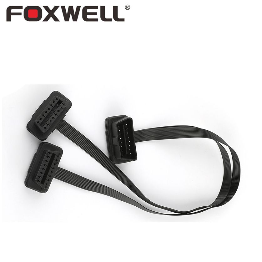 Car OBD2 16Pin Extension Cable 16 Pin Male to Dual 16-Pin Female Port Y Type 2 in 1 OBD II OBDII ECU Connector Adapter ELM327