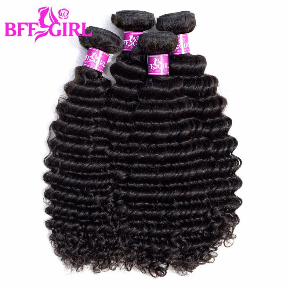 Brazilian Deep Wave Bundles BFF GIRL 100% Human Hair Bundles Can Buy 1/3/4 Bundles Natural Color Remy Hair Weaves Extensions