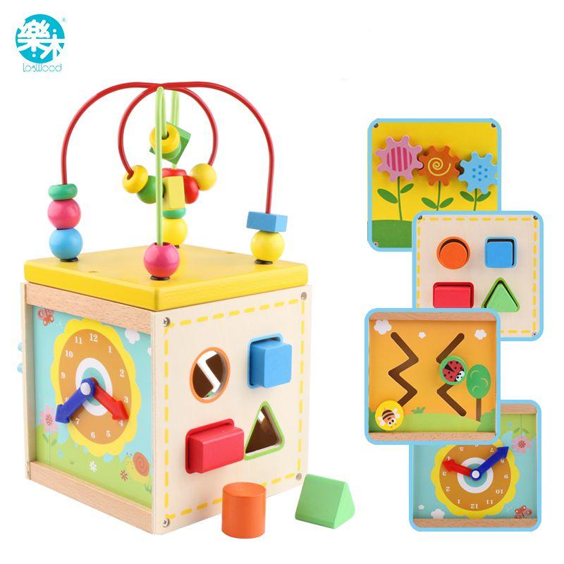 LOGO WOODBaby Bloque de juguete de madera para niños De Madera Clásico Multi Shape Sorter for Kids Regalos juguetes brinquedos caja Multifuncional