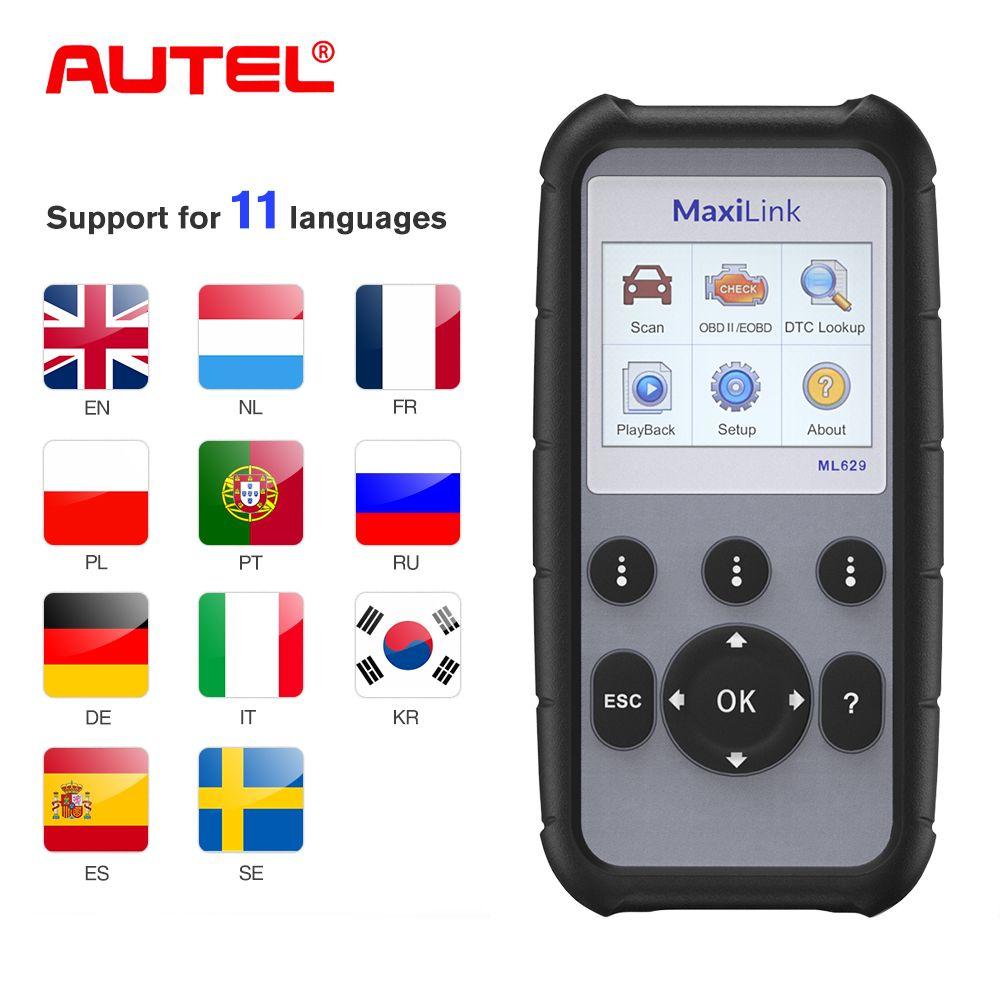 Autel ML629 KÖNNEN OBD2 Auto Diagnose Werkzeug Scanner Code Reader + ABS/SRS Auto Diagnose Werkzeug Scanner OBD2 Auto scanner Automotivo