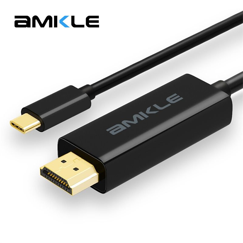 Amkle USB Type C to HDMI Cable USB 3.1 Type C Male to HDMI Male 4K Cable For MacBook Pro Huawei MateBook ChromeBook Sumsang S8