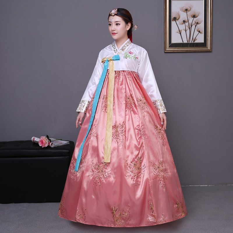 Sequined Korean traditional costume hanbok female Korea palace costume hanbok dress national dance clothing for stage show 89