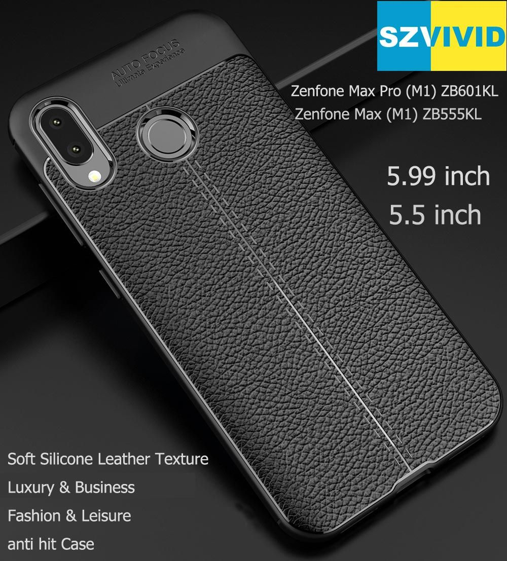 Matte Frosted Soft TPU Silicone Case For Asus Zenfone Max M1 ZB555KL Max Pro M1 ZB601KL Leather Lichee Texture Cover