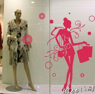 Современный стиль одежды бутик украшения магазин окна покупки девушка женщина Имя Знак Рекламы наклейка, стикер