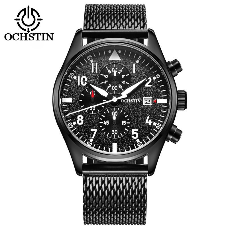 OCHSTIN Men's Quartz-Watch Stainless Steel Mesh Band Black Sports Watch Male Chronograph Mens Watch Top Brand Relogio Masculino