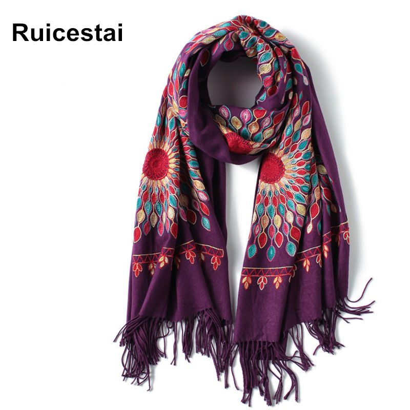 2017 new style winter scarf vintage Embroidery thick warm women scarves cashmere shawls and wraps pashmina lady bandana echarpe