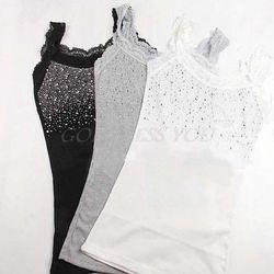 1 шт. Для женщин со стразами без рукавов Кружевное изумительная майка, футболка, комплект Дезодоранты