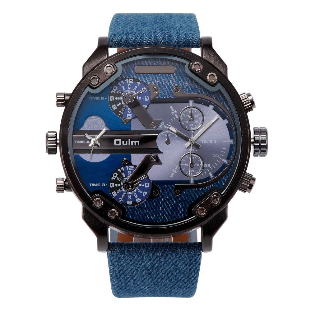 2018 OULM Brand Luxury Watch Men Cool Cowboy Sport Navy Marine Military Watches for Men Canvas Strap 2 Time Zone Quartz-watch