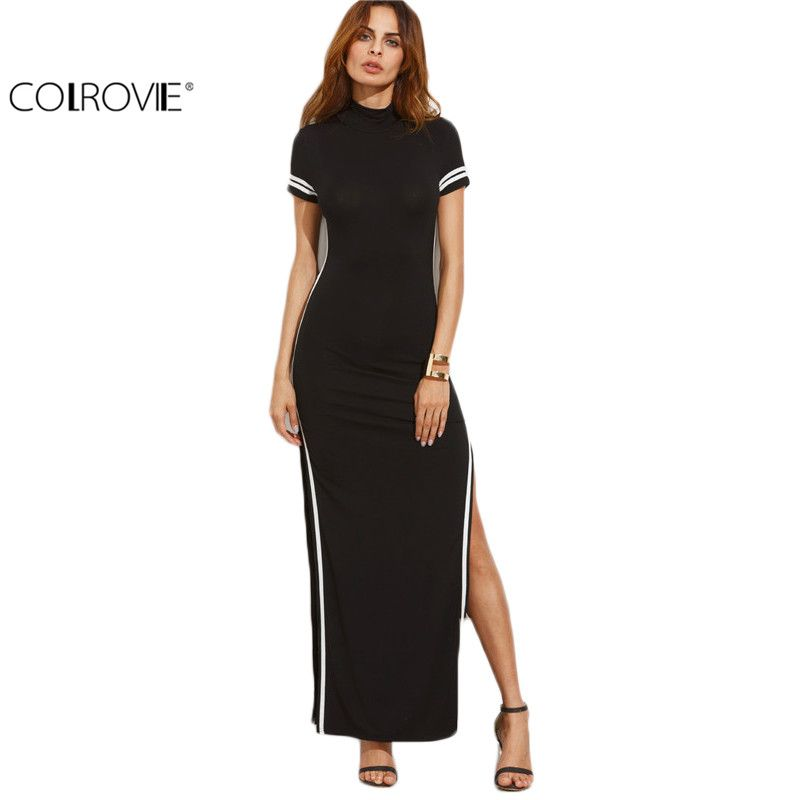 COLROVIE Women Sexy Wear Autumn Style Bodycon Dresses Black Cut Out Striped Trim Short Sleeve <font><b>High</b></font> Neck Split Sheath Maxi Dress