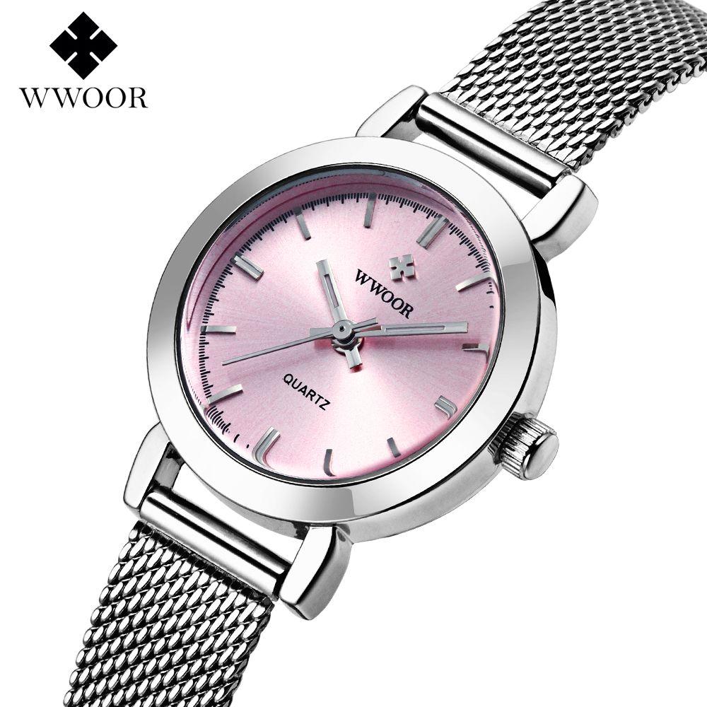 New WWOOR Top brand watch women luxury dress full steel watches fashion casual Ladies quartz watch Female table clock Wristwatch