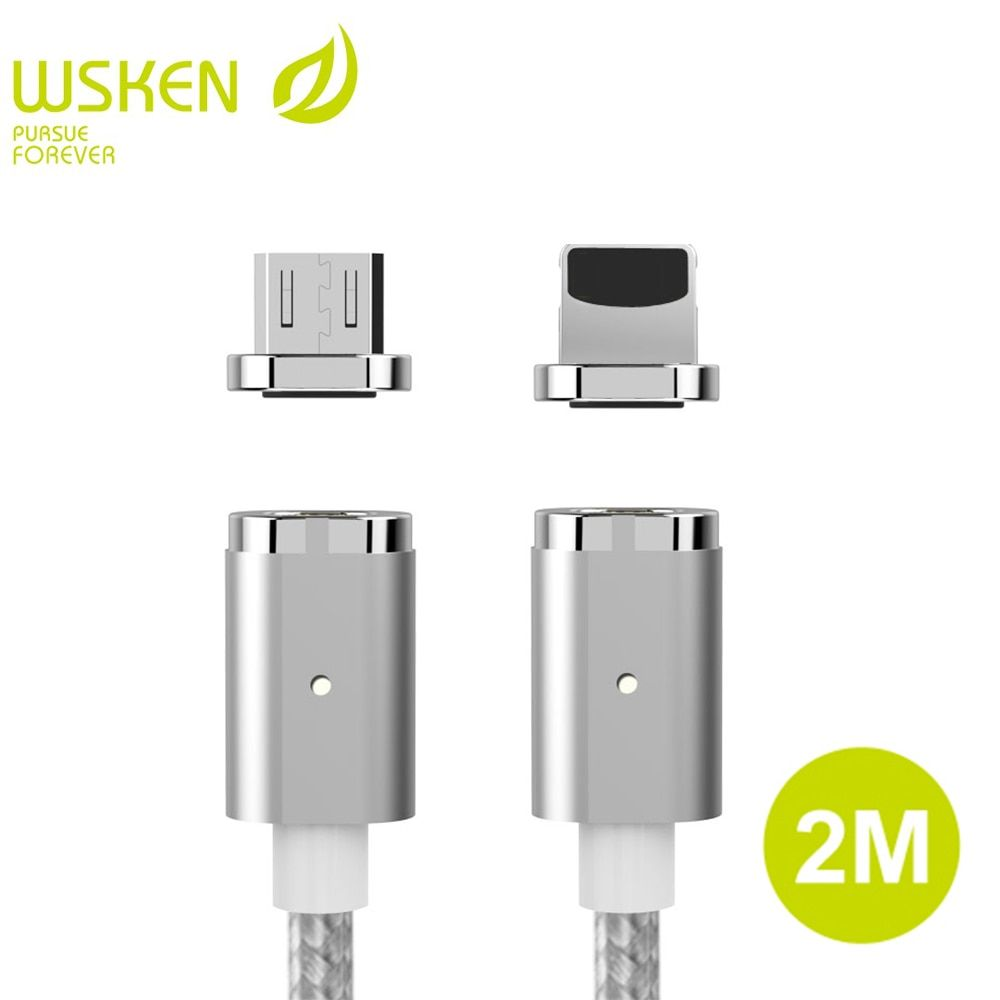 2M WSKEN Mini 2 Magnetic Cable For iPhone Cable Magnetic Charger <font><b>Fast</b></font> Charging Micro USB Cable For Samsung S7 Edge Huawei Xiaomi