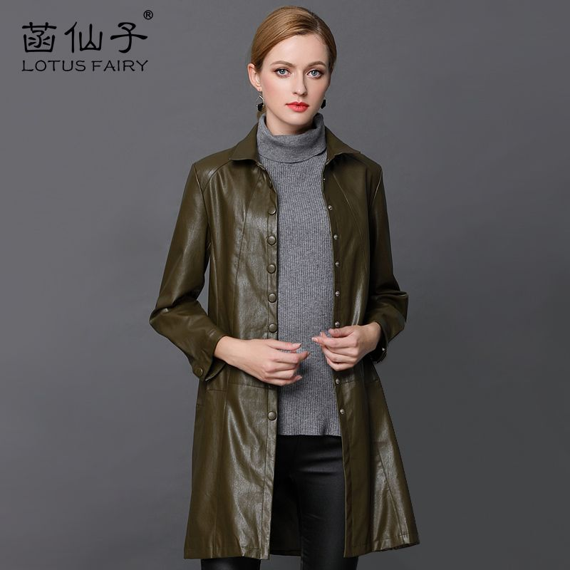 Genuine Leather X-Long Single Breasted Windbreaker Plus Size Leather Jacket Women long sleeve Slim outwear girl Motorcycle Coat