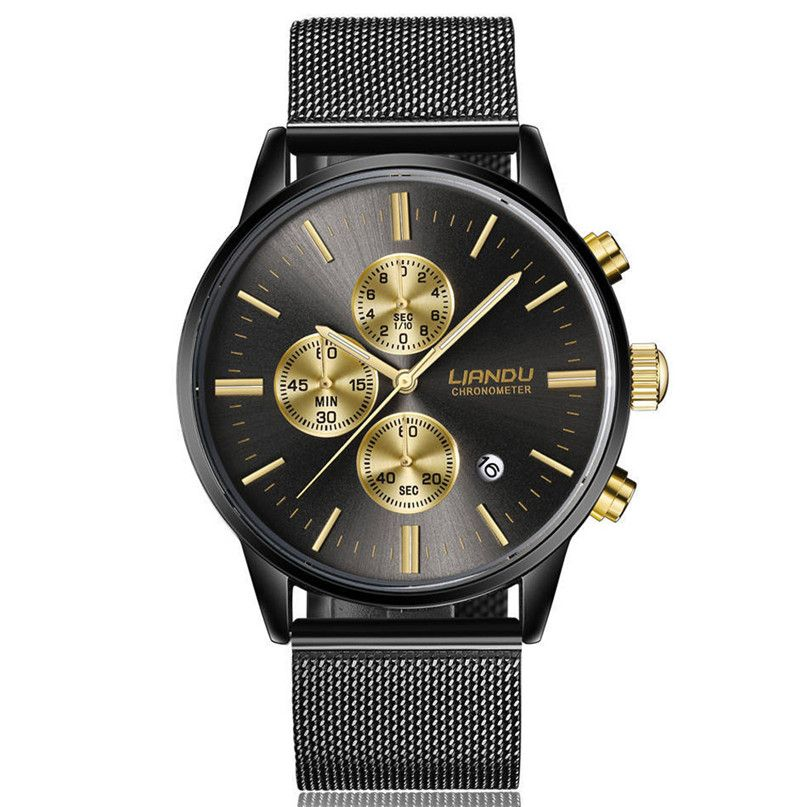 LIANDU Watches Men Luxury Chronograph <font><b>Luminous</b></font> Quartz Watch Simulated Stainless Steel Mesh Wrist Watches*60
