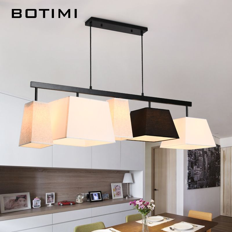BOTIMI American Country Style Cloth Pendant Lights Lampadario With Fabric Lampshade Long Hanging Lamp Bar For Dining Living Room