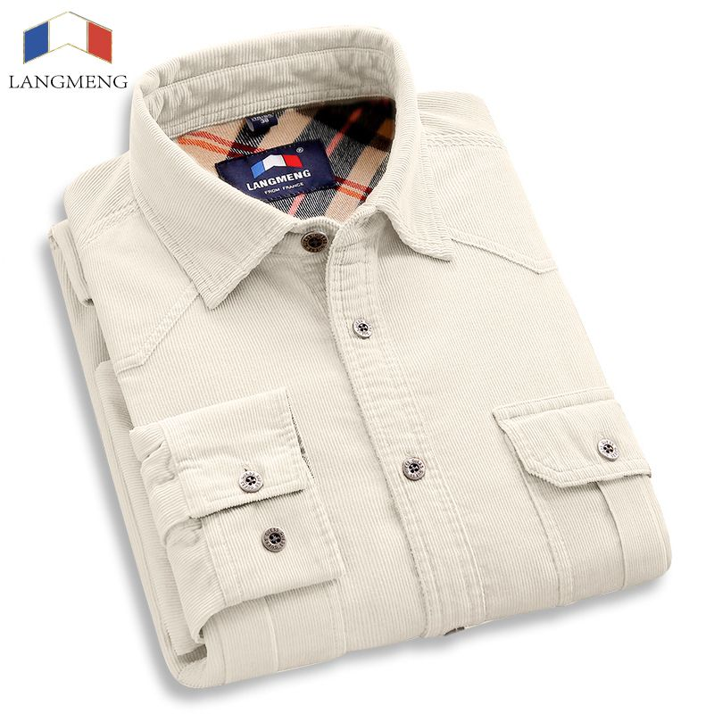 Langmeng 100% Baumwolle Vintage Cord kleid Shirt Männer Slim Fit Neue Casual Shirts Mens Marke Long Sleeve Kleidung Camisa Hombre