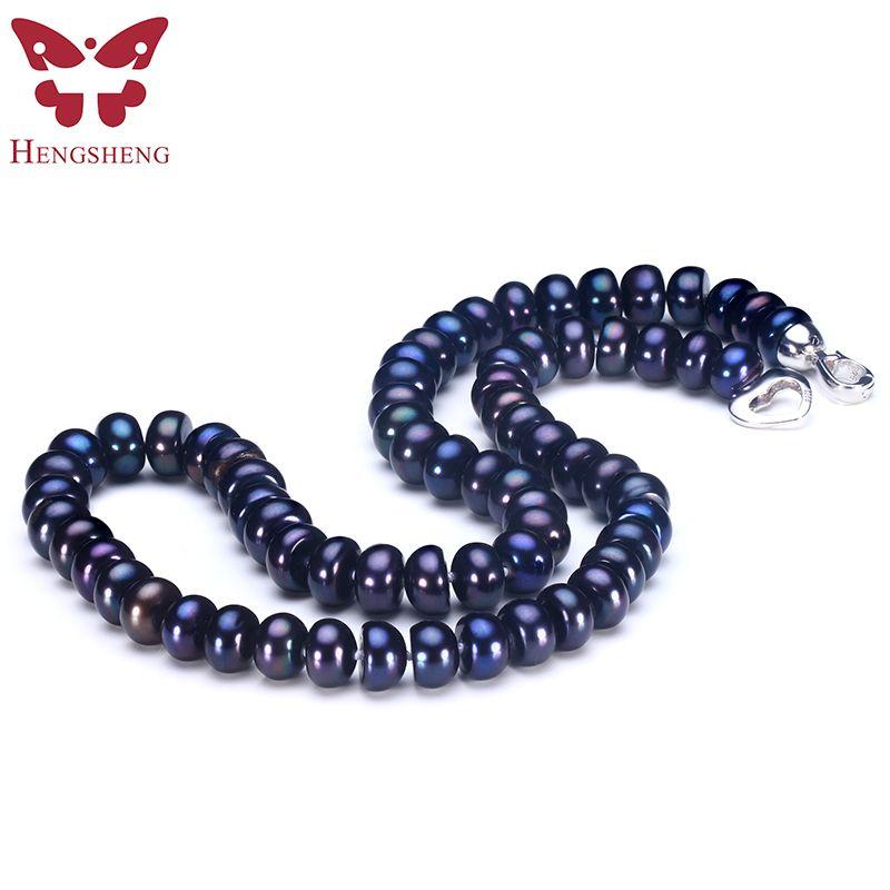 2017 erstaunliche Neue Echte Schwarze Perle Schmuck Halskette Für Frauen, Natürliche Frischwasserperle Niedlich Liebe Form Schnalle, Mode schmuck