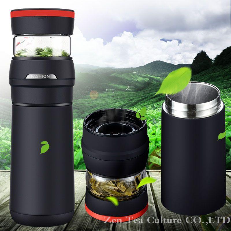2017 tragbare Auto Isolierflasche Thermos 304 Edelstahl Saugnapf mit Glas Teetasse Wärmedämmung Flasche Kreative Geschenk