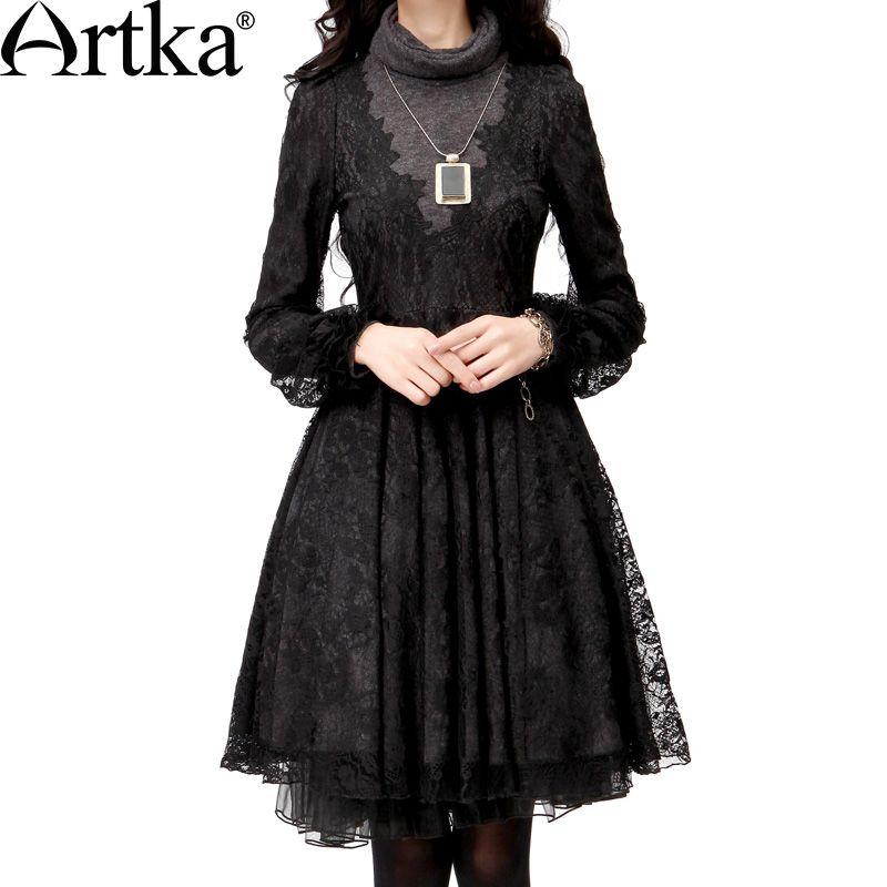 ARTKA Women'S Summer Hepburn Elegant Turtleneck Short Puff Sleeve Slim Waist Embroidery Lace Faux Two Piece Dress LA10035D