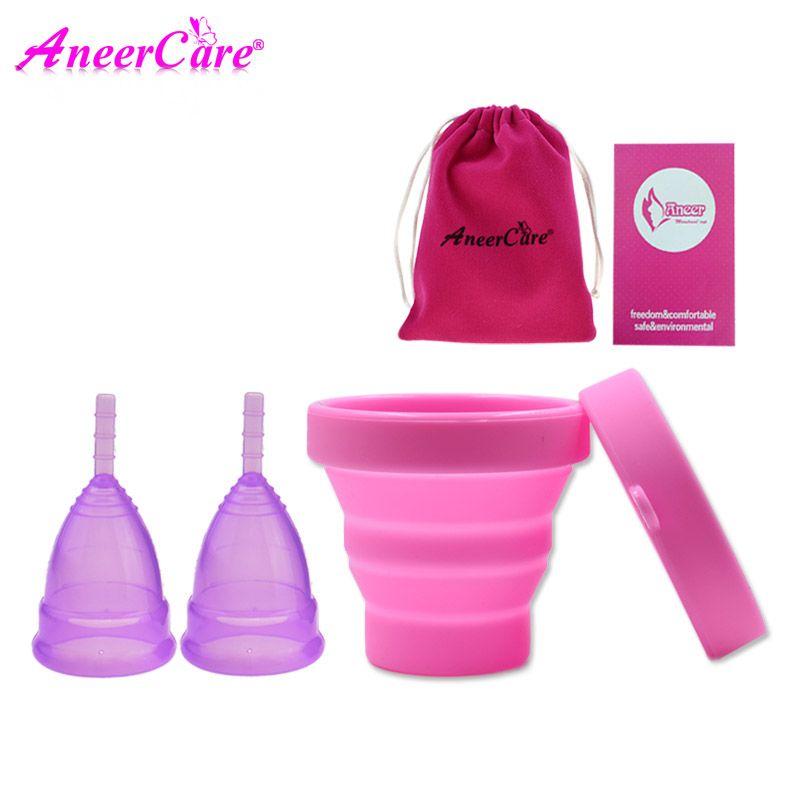 2 pièces coupe menstruelle stérilisateur dame coupe coupe menstruelle de silicona medica coppetta mestruale menstruel collecteur