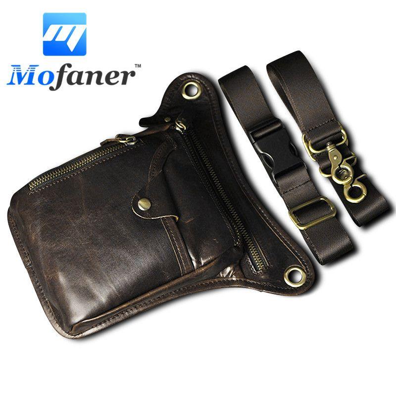 Mofaner Men Genuine Leather Motocycle Hiking Messenger Hip Bum Fanny Pack Waist Leg Bag