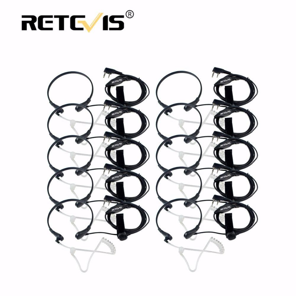 10pcs Throat Mic PTT Earpiece Covert Acoustic Tube Headphone For Kenwood Retevis RT5R H777 For Baofeng UV5R Bf-888S Walk Talk