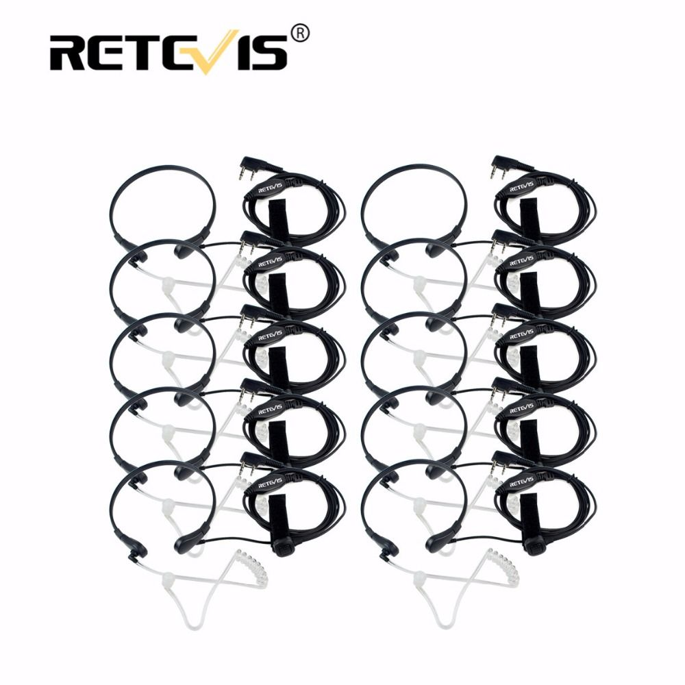 10pcs Throat Mic PTT Earpiece Covert Acoustic Tube Headphone For Kenwood Retevis RT5R H777 For Baofeng UV5R Bf-888S Walk Talk
