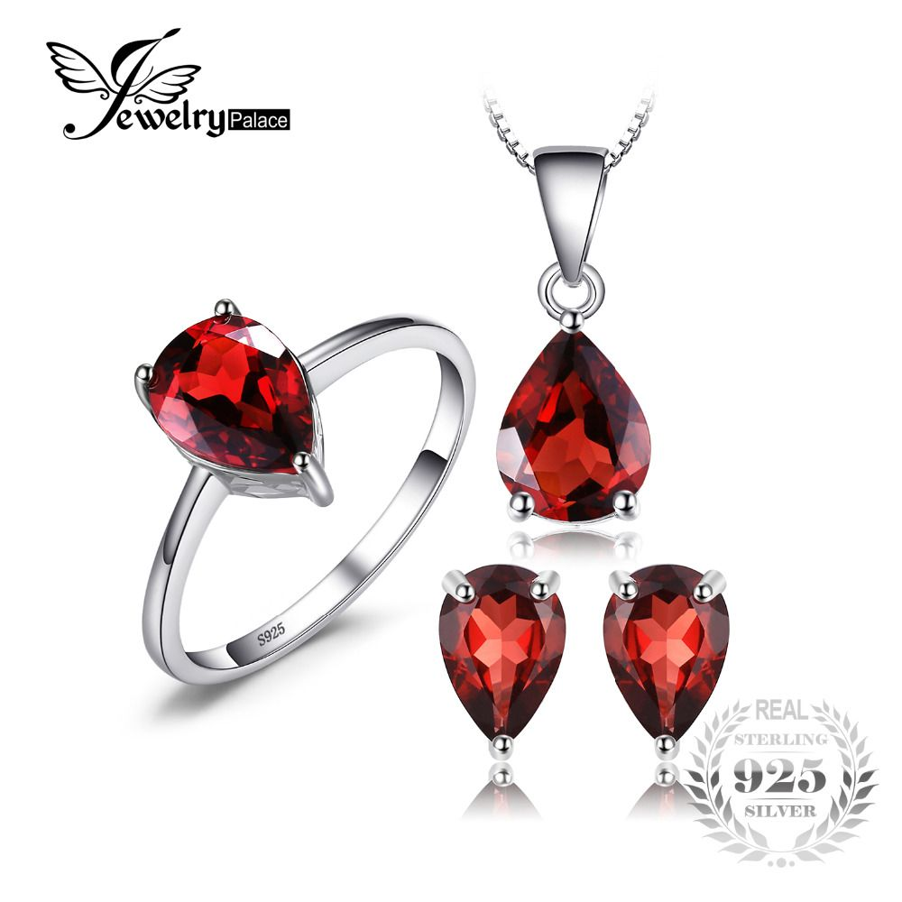 Jewelrypalace 5.4ct Natural Garnet Ring Earring Pendant Necklace Jewelry Sets Genuine 925 Sterling Silver Fine Jewelry For Women