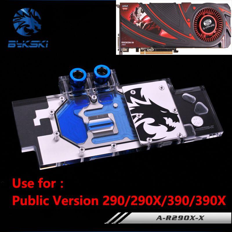 Bykski Öffentliche Version Full Cover Grafikkarte Wasserkühlung Block verwenden für AMD R9 390X 290X R290 ATI Kühler Block mit RGB licht