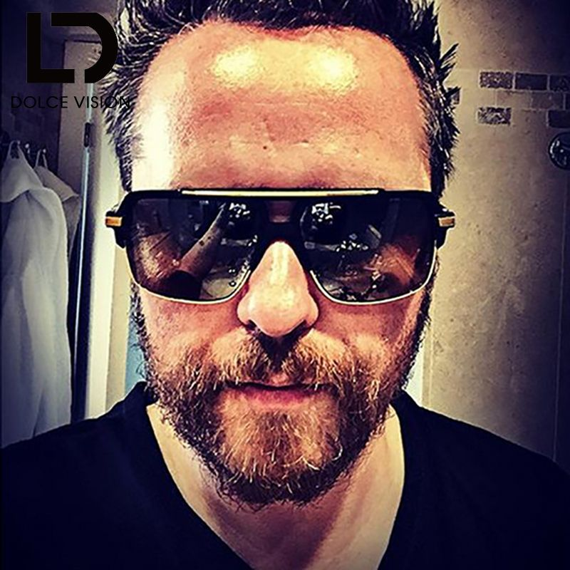 DOLCE VISION Luxury Sunglasses Men Vintage Designer Square Gradient Male Sun Glasses Metal UV400 Oculos Double Bridge 2018 New