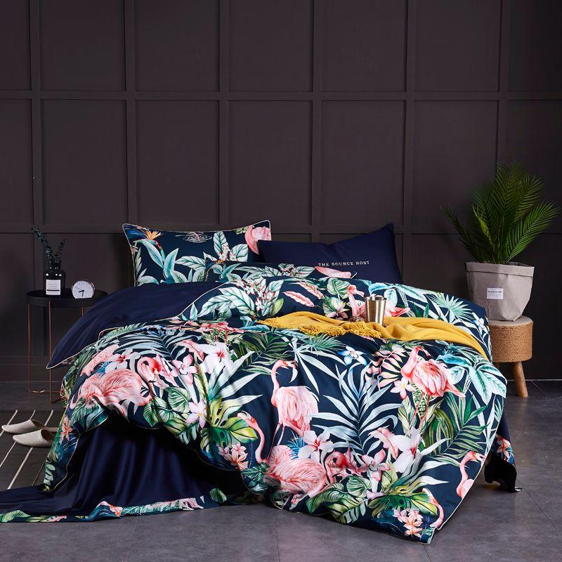 Luxury Egyptian Cotton Flamingo Bedding Set Queen King size 3d Bedding Boho Bed set Duvet Cover Bed sheet set parrure de lit