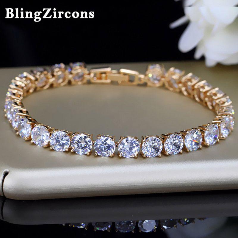 BlingZircons 6 Couleur Or Couleur Ronde Cubique Zircone Cristal De Tennis De Bracelets Pour Bijoux De Mariée De Noce Cadeau B019