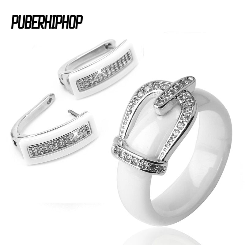Health Material Wedding Jewelry Sets for Women Classic Crystal <font><b>Crown</b></font> Bride Engagement Stud Earrings & Rings Wedding Bride Sets