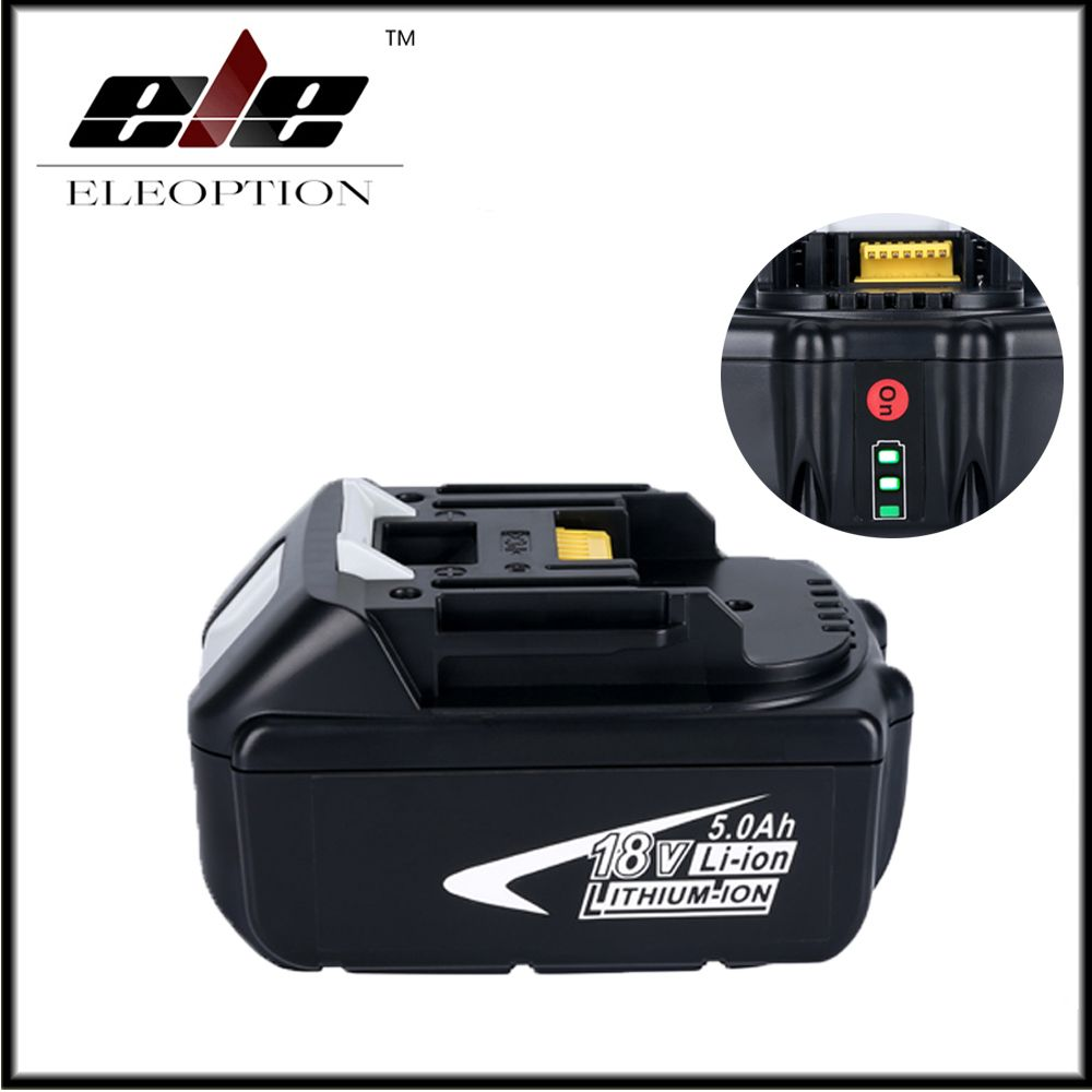 Eleoption 18V Full 5000mAh Battery with LED Indicator for Makita LXT Lithium-Ion Power Tools 194205-3 BL1830 BL1850 BL1840