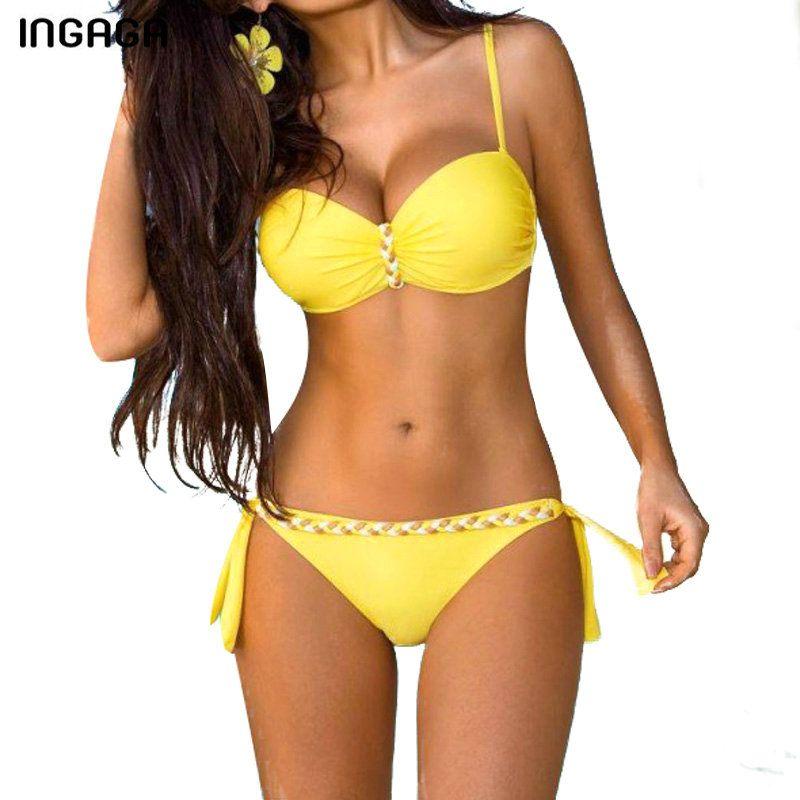 INGAGA nouveau 2018 Sexy Bikini ensemble Push Up maillots de bain femmes sangle maillot de bain solide maillots de bain d'été plage maillots de bain XXXL
