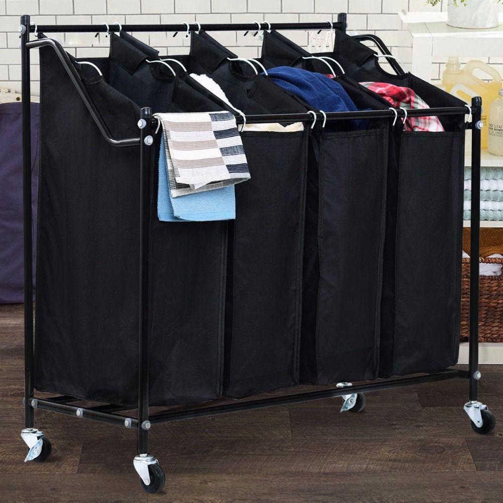 Giantex 4 Bag Rolling Laundry Sorter Cart Hamper Organizer Compact Basket Heavy Duty Modern Furniture HW57046