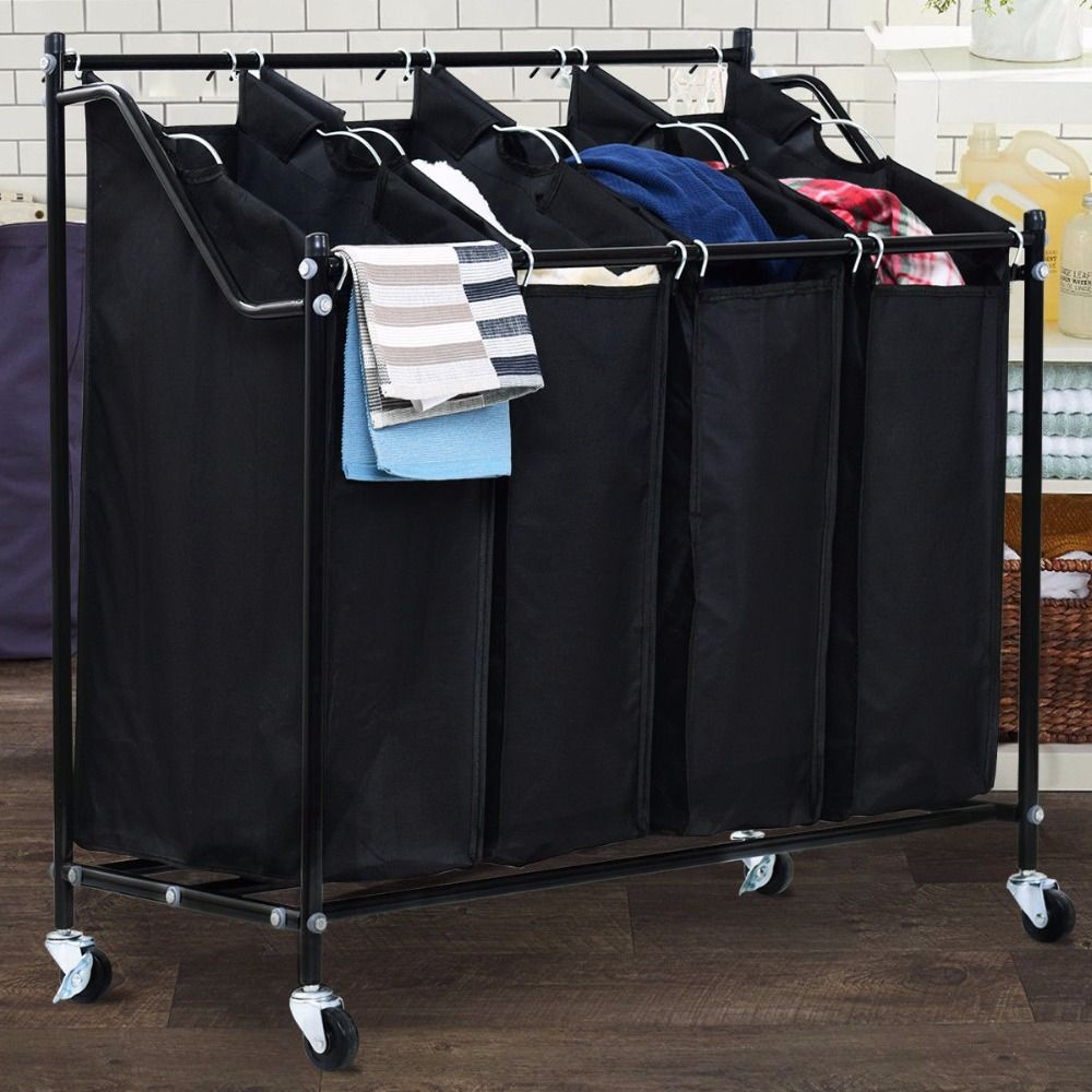 Giantex 4 Bag Rolling Laundry Sorter Cart Hamper Organizer Compact Basket Heavy Duty Modern Furniture HW57046