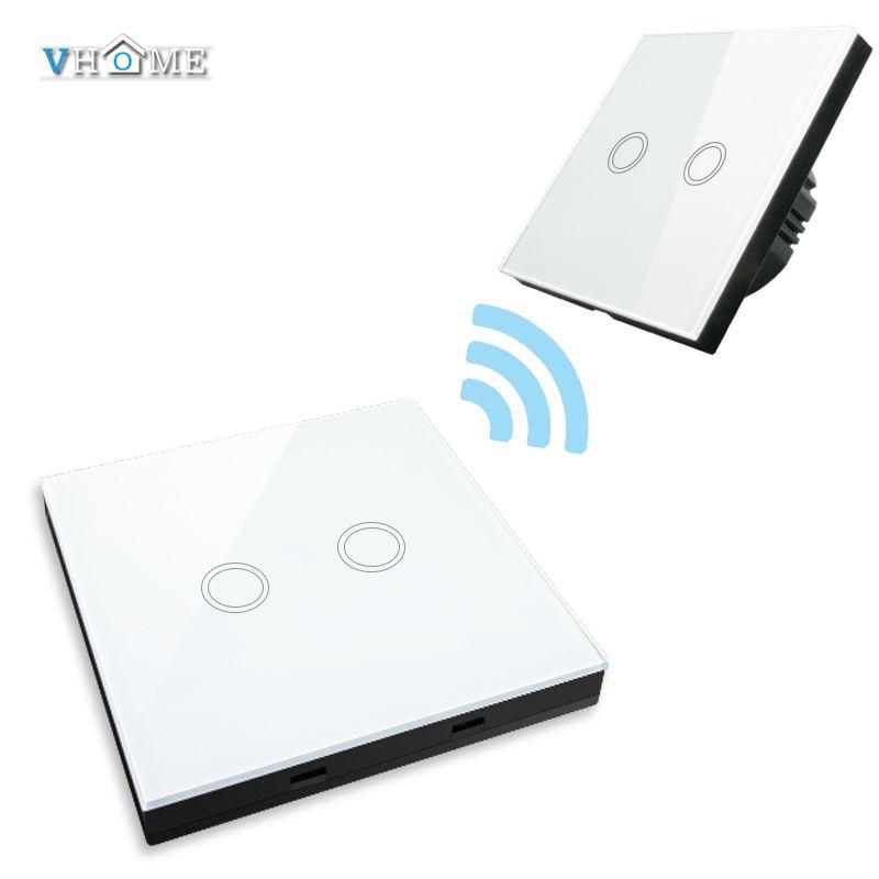 VHOME Smart Home 2gang1way télécommande 433 mhz RF Smart Controle Remoto + interrupteur de lumière murale en verre cristal, autonmation à la maison
