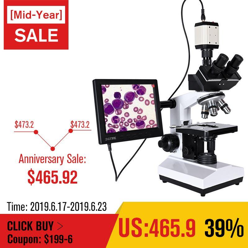 Professionelle Labor biologische HD trinocular mikroskop zoom 2500X + USB HDMI VGA elektronische digitale CCD Kamera + 8-zoll LCD led