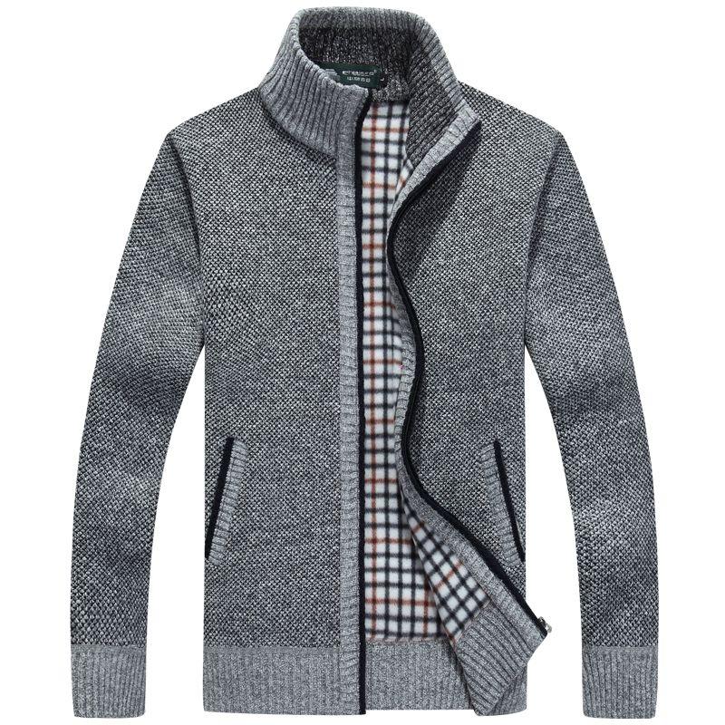 Nouvelle hiver plus la taille mens chandails hommes épais à manches longues laine cardigan hommes chandail veste casual chandail tricoté vêtements