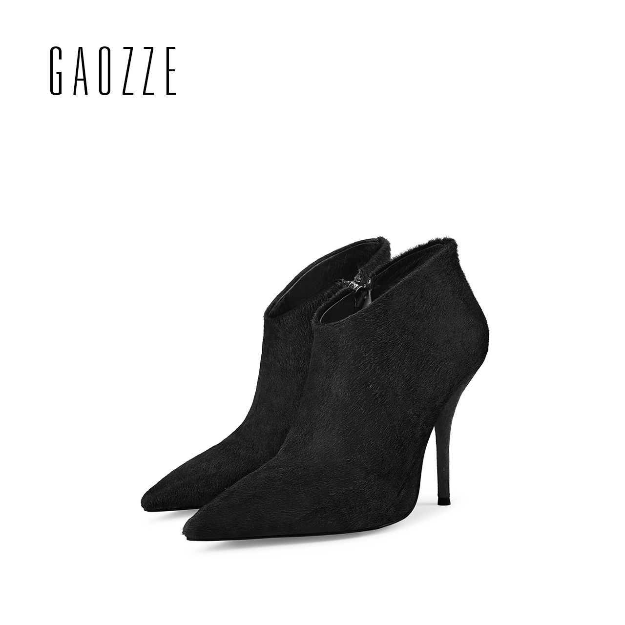 GAOZZE black Sexy thin high-heeled boots women side zipper fashion pointed toe shoes ankle boots for woman heels 2017 autumn