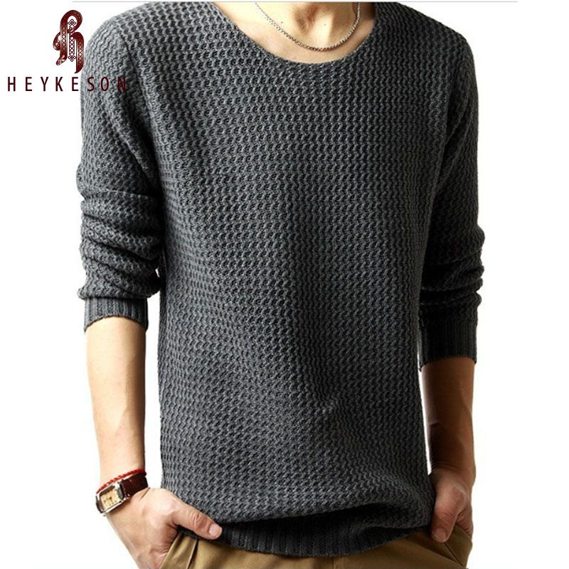 HEYKESON Sweater Pullover Men 2017 Male Brand Casual Slim Sweaters Men High Quality Hedging O-Neck Men'S Sweater Oversize 4XL