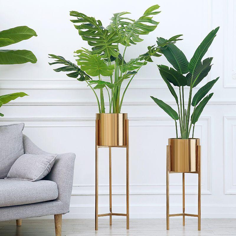 Boden Vase Gold Metall Regal Vase Für Getrocknete Blumen Töpfe pflanzer mittelpunkt Lobby Home Deco Blume Vase heißer verkauf