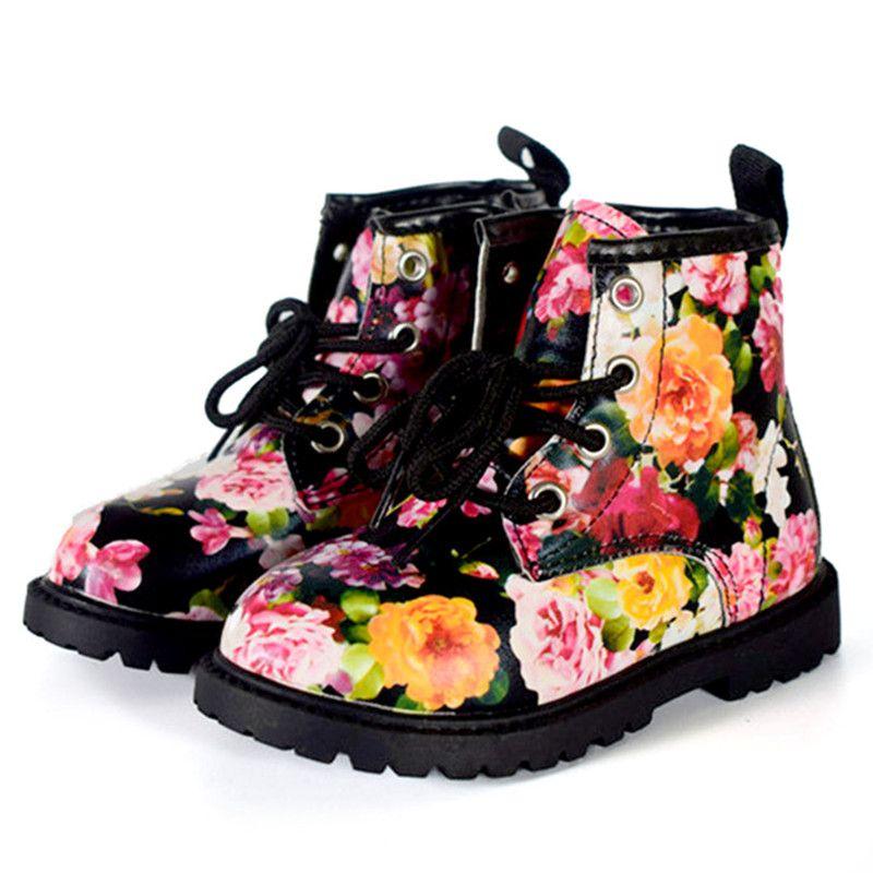 2018 Mode Impression Enfants Chaussures Filles Bottes En Cuir PU Mignon Bébé Bottes Confortables Cheville Enfants Fille Martin Chaussures Taille 21 -30