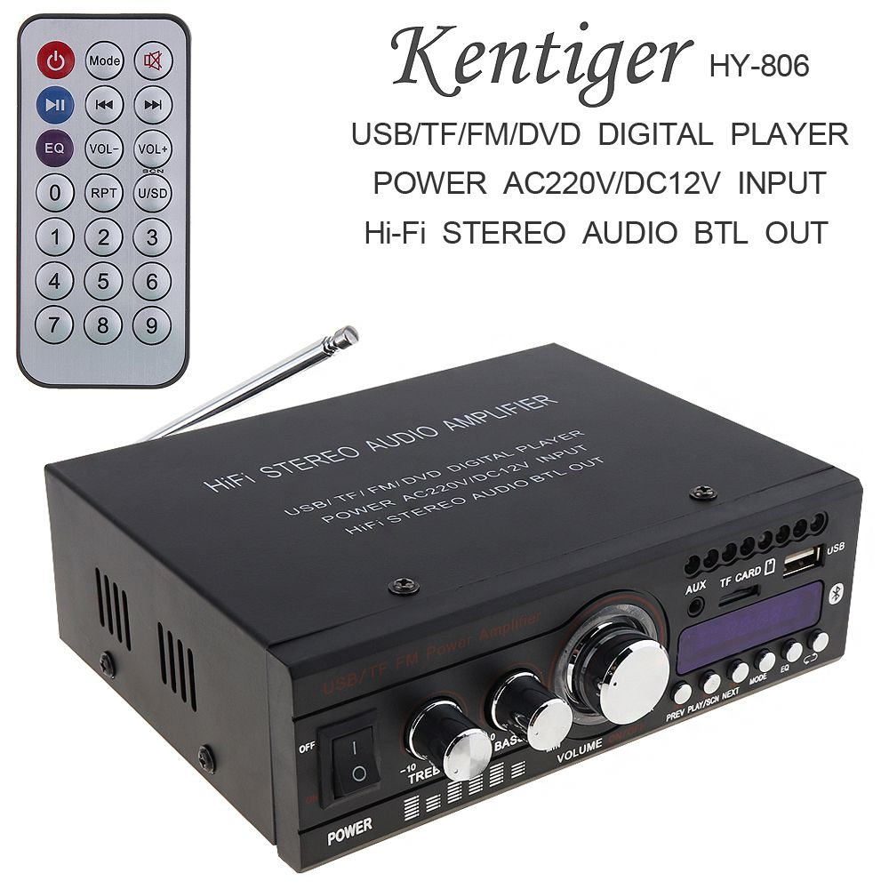 Kentiger DC12V/AC220V/AC110V Bluetooth 2CH Hi-Fi Car Stereo Audio Power Amplifier Digital Player Support USB / SD / FM / DVD