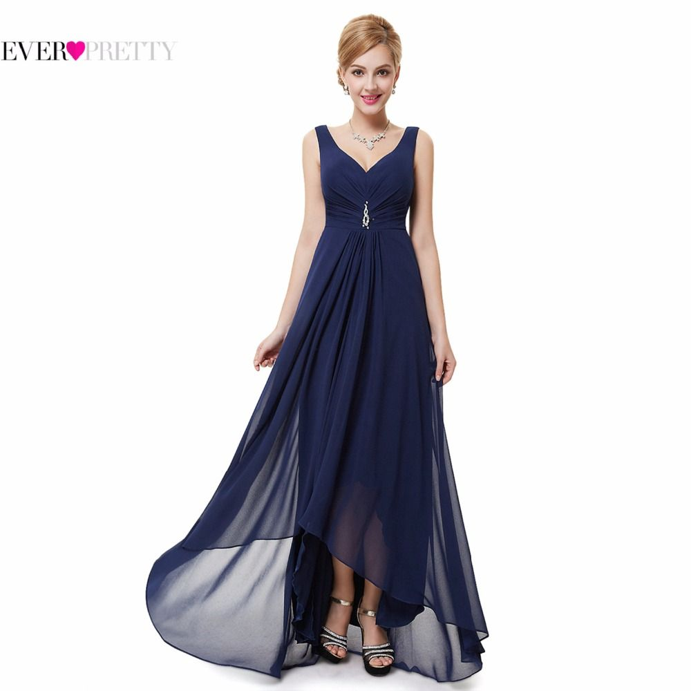 Formal Evening Dresses EP09983 Ever Pretty 2018 New Arrival Real Photo Plus Size Double V Neck Rhinestones Long Evening Dress