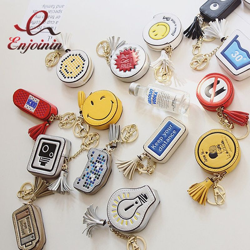 Fun personalized fashion pattern tassels good quality cartoon mini coin purse pu  women's zipper purse bags Accessories Wallets