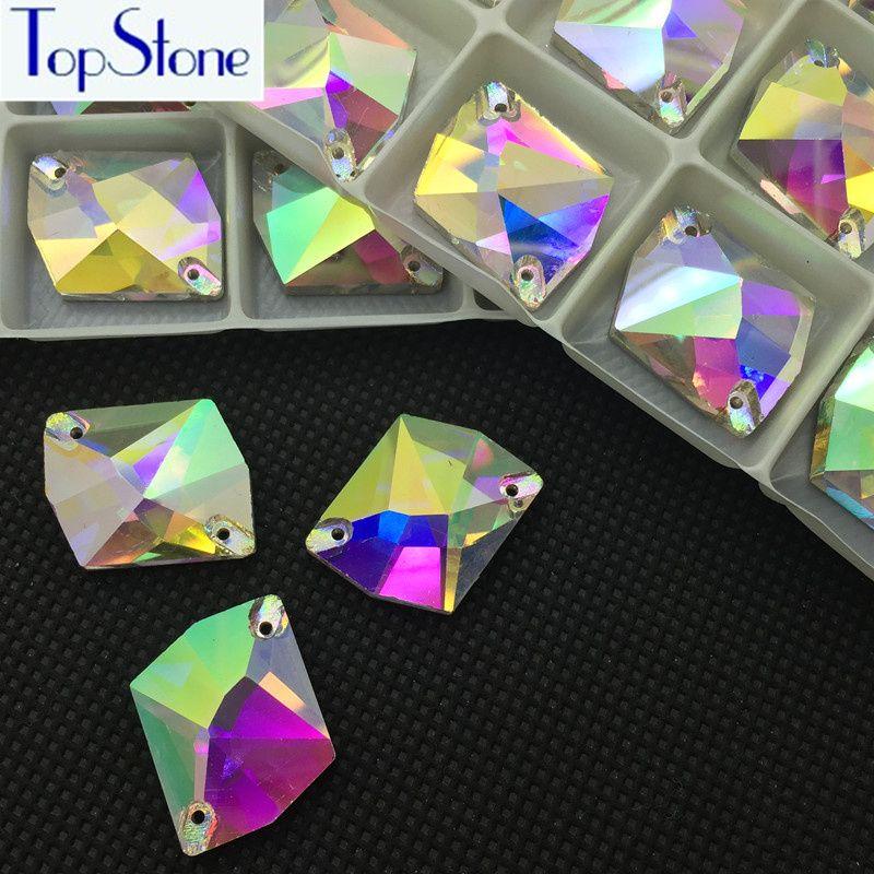 Crystal Clear AB forme Cosmique À Coudre strass En Cristal En Verre Coudre Sur Pierre Flatback Robe Décoration 11x14,13x17,16x21,21x27mm