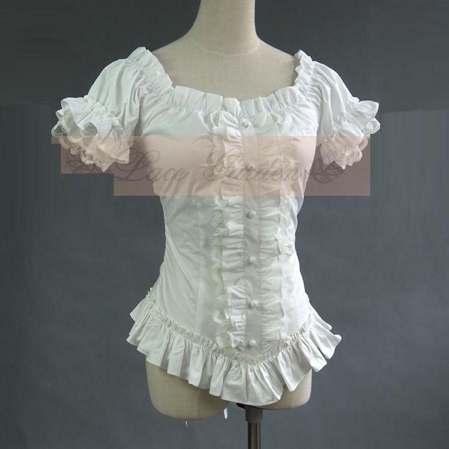 Été femmes blanc chemises courtes Vintage victorien plissé dentelle Bandage chemises dames gothique blouse lolita costume